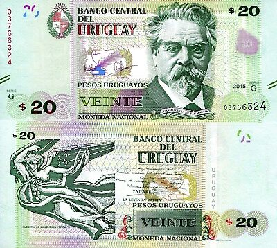 Price dropped MINT 2015 Uruguay 20 peso note UNC Combined Shipping world lot