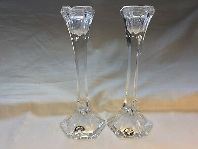 Pair of Bohemia Crystal Glass Candlesticks 1970s