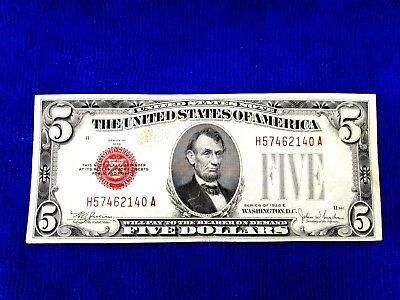 Series Of 1928 E  $5 Dollar  Bill Red Seal Us Currency  Serial  # H57462140 A