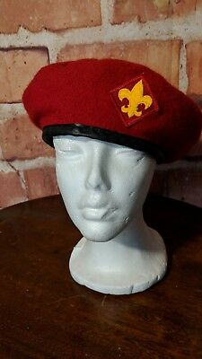 Vtg. Boy Scouts Of America Official Red Wool Blend Beret Size 7 1/8-7 1/4