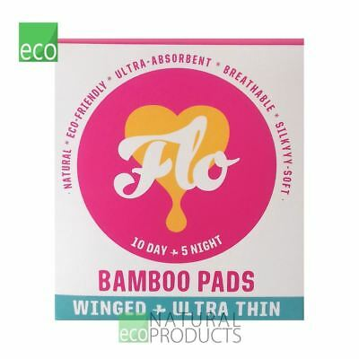 Here We Flo Natural Bamboo Pads Winged & Utra Thin 10 Day & 5 Night Pads