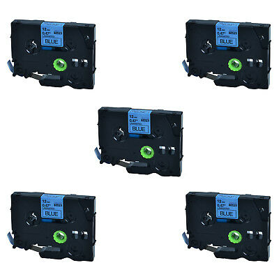 5PK For Brother P-touch PT-2730 12mm*8m TZ-531 Black on Blue Label Tape TZe-531
