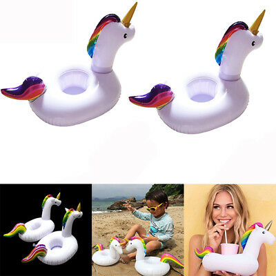 4x Inflatable Floating Unicorn Holder Pad Drink Cup Blow Up Swimming Beach Pool