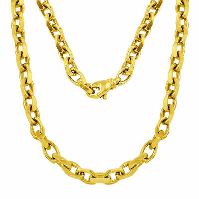 b8e4335f9a8ef 18KT YELLOW GOLD handmade Link men's Chain Necklace 34