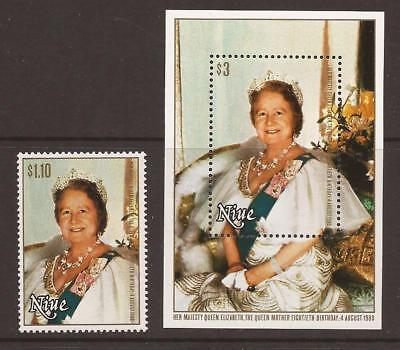 NIUE 1980 SG364 + MS365 80th Birthday of The Queen Mother MNH (JB1823)