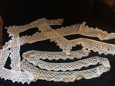 Old Vintage Antique Hand Lace Job Lot Edgings,trimings,lenghths Of Lace Off Cuts