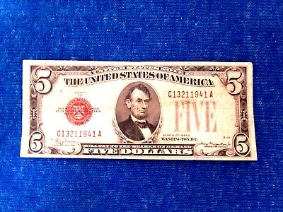 Series Of 1928 C  $5  Dollar Bill Red Seal Us Currency Serial  # G13211941 A