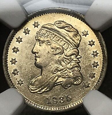 1835 Half Dime H10C NGC AU Details. Cleaned.  Looks Proof-Like. Gorgeous