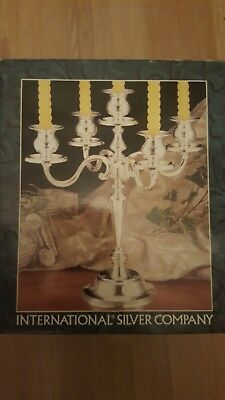 """Candelabra, Silverplated 5 Candle Tree, 8"""" tall x 9"""" by International Silver co."""