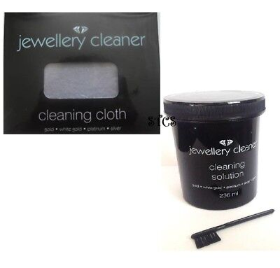 Jewellery Cleaner Cleaning KIT - Cloth & Solution for Gold, White Gold, Platinum