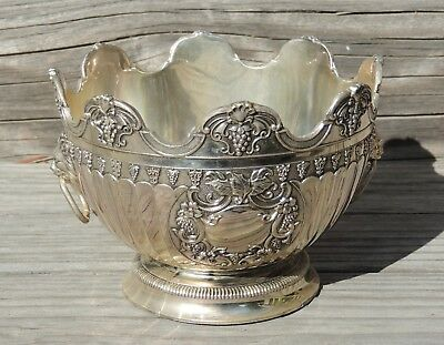 Vintage Silverplate Monteith Bowl Lions Head Handles Grapes Lion's Club Award