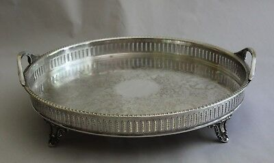 Antique Keystone Silver Plate Round Footed Ornate Pierced Handled Tray