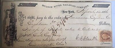 Hudson River Railroad Company  Check Issued to American Express Co In 1866