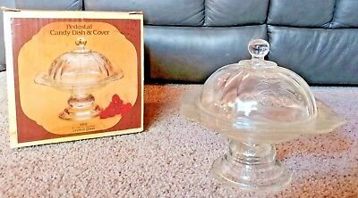 INDIANA GLASS RECOLLECTION Vintage Pedestal Covered Candy Dish Clear #4502 *NIB*