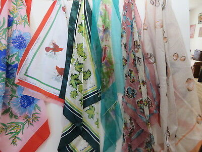 Lovely Vintage Scarves-Lot of 6--Incl Skemo Canada Elaine Paine, Avon