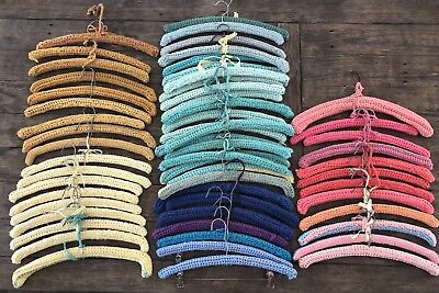 Vintage Lot of 57 Crochet Covered Wooden Clothing Hangers Knit Yarn Handmade