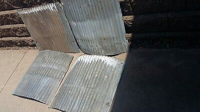 "Vintage Corrugated Metal for Art Projects, 4 pcs. 26"" x 24""."