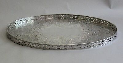 Antique Barker Ellis England Silver Plate on Copper Ornate Pierced Tray