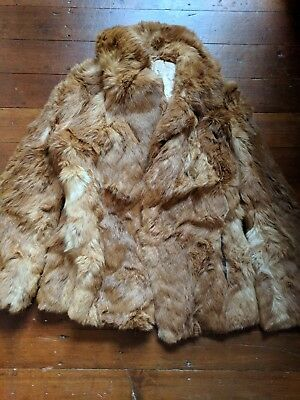 REAL rabbit fur coat vintage retro size Small hipster boutique tan silk