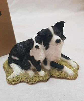 *seller away Country Artists-Sherratt& Simpson-Border Collie With Puppy Figurine