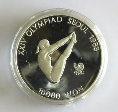 1987 Olympic Seoul South Korea Silver Proof Coin 10000 Won Diving KM57