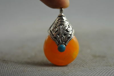 Collectable Handwork Old Miao Silver Carve Totem Inlay Amber Auspicious Pendant