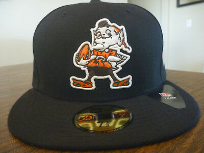 the latest 33ae6 f0410 Cleveland Browns New Era 59Fifty Nfl Black Team Fitted Hat cap Size 7 3
