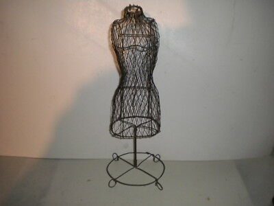 """Miniature Wire Metal Dress Form Mannequin Display Stand Doll Dress 15"""" Tall Exc."""