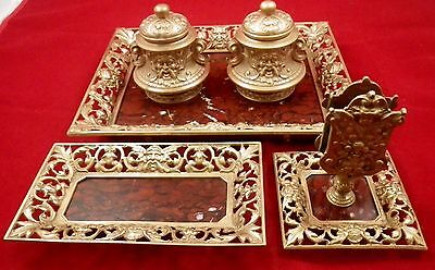 ancien encrier set de bureau en bronze et marbre / Antique French  inkwell