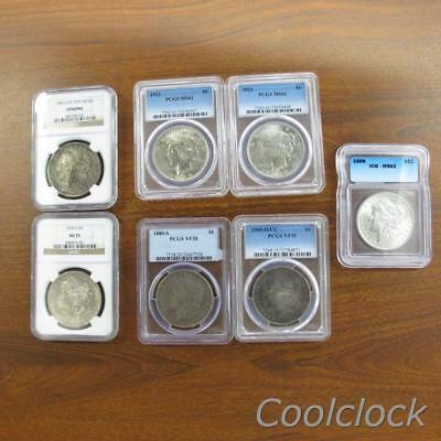 7 Pc Lot Morgan Peace Silver One Dollar $1 Coins NGC ICG PCGS Graded #Y13