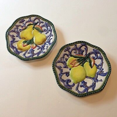 Fitz & Floyd Classics Handcrafted Decorative Wall Plates Pears and Lemon Plates