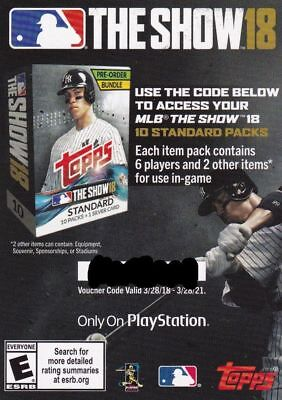 2018 Topps Series 2 MLB The Show Code Good For 10 Standard Packs Unused E-mail