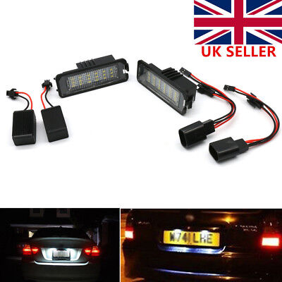 2x LED License Number Plate Lights Canbus Lamp Replace For VW GOLF MK4 MK5 Seat
