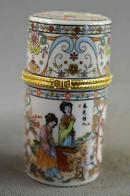 Collectable Handwork Porcelain Paint Belle & Scenery Lucky Usable Toothpick Box