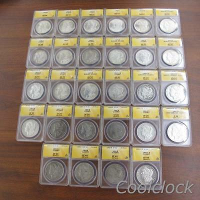 28 Pc Lot Morgan Silver One Dollar $1 Coins ANACS Graded MS63 AU58 & More JC649