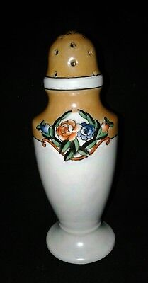 Antique Noritake Sugar Shaker Muffineer Orange Lusterwar Wreath Flowers Art Deco