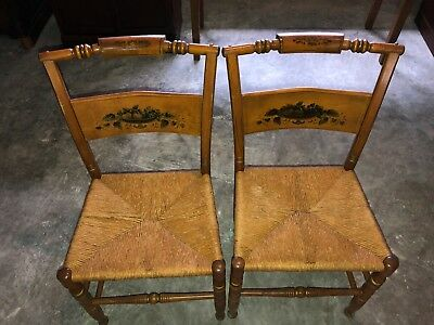 Pair 2 Two Hitchcock Stencil Brown Straw Seat Wooden Chairs