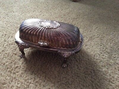 F.B. Rogers Silver Company Silverplate Roll Top Lion Footed Butter Dish