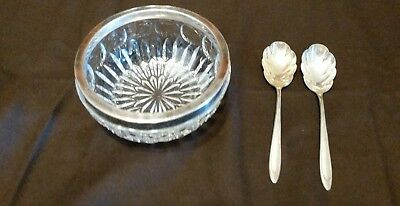 GENUINE LEAD CRYSTAL SILVER PLATE RIM nUT DISH WITH 2 SP SPOONS