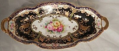 Nippon Roses Floral Decor Cobalt Blue Gold Gilded Relish Celery Bowl Dish