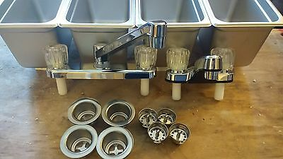 Standard Concession Stand  3 4 Compartment Sink,1 Hand Wash (with Minor Damage)