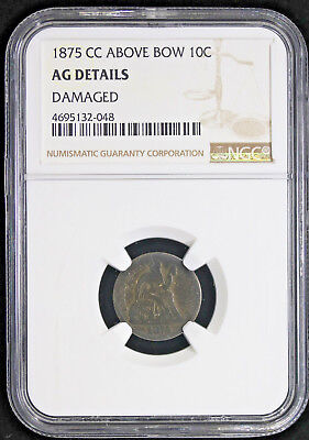 1875-CC Above Bow Seated Liberty Dime 10c NGC AG Detals Carson City Nevada #2048