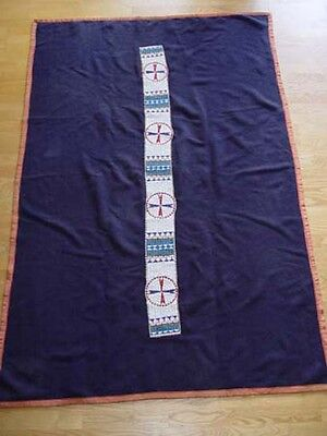 "Sioux Beaded Blanket Strip 61""x 5 1/2"" Blue Stroud Trade Cloth 72"" x 48"" c.1890"