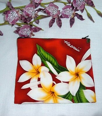 Made in Hawaii Local Design Orchid Make Up Bag Purse Pouch Canvas Accessories