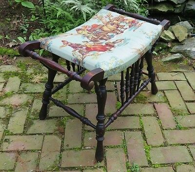 Authentic Victorian Wood Bench for Vanity. Stool, Seat. Sewing, Accent. Padded.