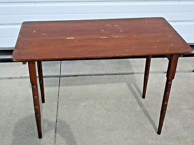 vintage Primitive Portable Wood Sewing Table w Measure Tape Top & Folding Legs