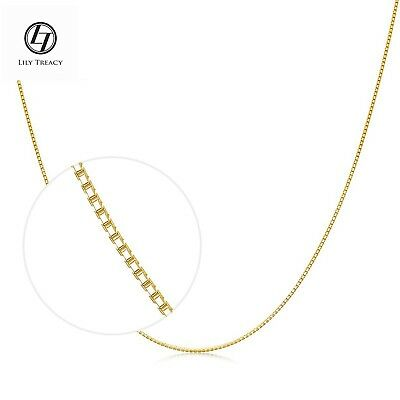 """18K Solid Gold Chain Necklace Yellow White Gold Box Chain 16"""" 17"""" 18"""" Men Women"""
