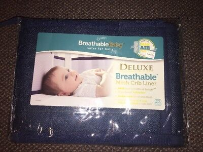 NEW BreathableBaby Breathable Mesh Crib Liner, Navy