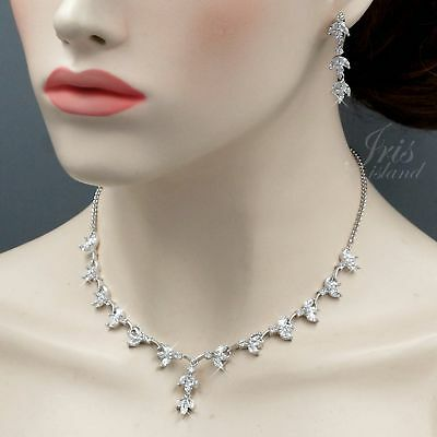 White Gold Plated Clear Cubic Zirconia Necklace Earrings Wedding Jewelry Set 508