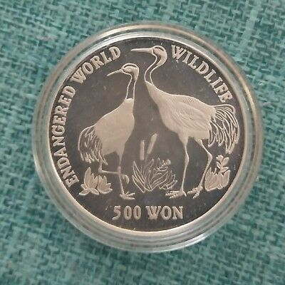 Korea 1990 500 won silver   bird coin